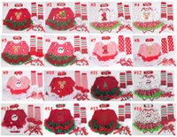 baby deer infant shoes - DHL Baby Tutu Dress Rompers Set Christmas Santa Deer Infant Rompers Headband Legwarm Shoes Baby Xmas Rompers Newborn Baby Clothes