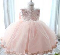 baby girl wedding dress - 3M M New Born Baby Girls Princess Party Dress Sleeveless Pink Lace Girls Ruffled Dress Children Wedding Dress A122