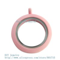 Wholesale paint floating lockets plain mm pink color Round twist threaded screw top locket fit charms could make necklace keychain
