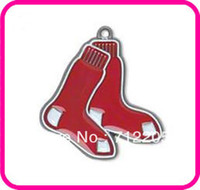 baseball necklace red sox - Fashion Jewelry Charms a classic red enamel single sided Boston Red Sox Charm baseball jewelry