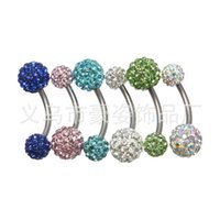 belly dance explosion - Factory Medical steel piercing navel belly dance Cuzhen nail navel ring diamond pieces full of diamond explosion models blue soft