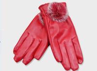 Wholesale Outdoor Riding gloves Fur Women Motorcycle gloves for women PU Leather gloves sheepskin women gloves warm winter gloves