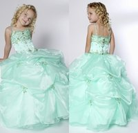 Reference Images Girl Beads High Quality Ball Gown Spaghetti Straps Sage Pageant Dresses For Little Girls Beaded Ruched Cheapest Flower Girls Dress For Party Prom