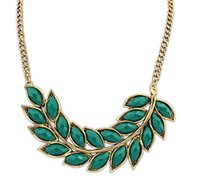islamic necklace - Hot Vintage Leaves Choker Necklaces For Women Gold Plated Alloy Pendant With Resin Gem Statement Necklace islamic jewelry