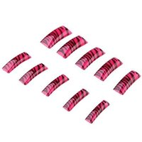 Wholesale 100 Pink Zebra Acrylic Gel French Fake False Nail Tips IN STOCK order lt no track