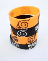 Wholesale NEW Orange and Black Naruto cm Wide Silicone Rubber Bracelet Wristband