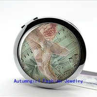ballerina mirror - New Arrival Ballet Compact Mirror Ballerina Glass Picture Jewelry Small Pocket Mirrors Makeup Mirror