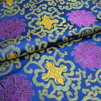 brocade fabric - Noble sapphire blue brocade fabric bottom tricolor wishful silk satin fabric Chinese style cheongsam costume half a meter