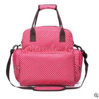 Wholesale 100pcs LJJC3188 High Quality Dots Printed Waterproof Diaper Bag Mummy Bags Baby Nappy Bag Travel Ladies Backpack Durable Nappy Sleeping Bag
