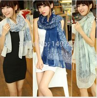 Wholesale New Fashion Totem Print Women Winter Warm Scarf Scarves Wrap Shawl Chiffon Silk Shawls and Vintage Porcelain Scarf Women