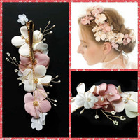 beach pins - Colorful Flowers Pearl Beaded Bridal Hair Clip Pin For Wedding Bridal Accessories Women Beach Romantic Headbands Headpieces Cheap Sale