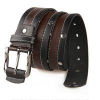 Wholesale New Fashion Mens Punk Stylish PU Leather Cowskin Rivet Metal Buckle Belt Male Classic Casual Strap Brand Jeans Belt