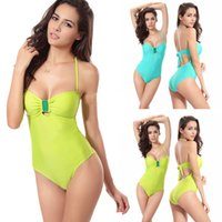 adjustable hanging - Swimwear Swimsuits Solid One Piece New Fashion Sexy Women Bikinis Sets Hanging Neck With Adjustable Length Beachwear Suits