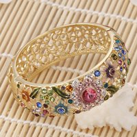 Wholesale Cloisonne bracelet colour diamond crystal open wide version of the female hand ring fine jewelry box