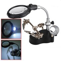 Wholesale Hot Sale LED Helping Hand Stand Clip Magnifier Loop Tool Clamp Magnifying Repair Loupe Excellent Quality order lt no track
