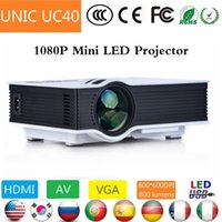 Wholesale 2015 New UNIC UC40 Simplified Micro Projector led dlp video projector beamer p x1080 Korean Russian Portuguese Spanish DHL Free