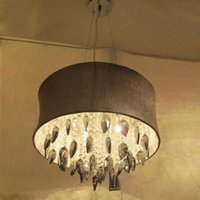 Wholesale Crystal Drum Pendant Lights - Smoke grey Crystal Drum Chandelier Light Pendant Lamp Ceiling Fixture with Light Gray Shade