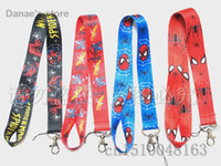 Cheap 10pcs Free shipping spider-man black red blue neck Lanyard Cell Phone PDA Key ID Holder strap Mix order