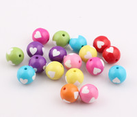 acryl colors - 16MM mix colors Chunky Acryl Beads Bling Ball Beads candy color love heart beads JJAL BE324