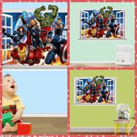 Wholesale The Avengers PVC D Wall Sticker Living Room Large Poster Decorative Wall Decals Home Decoration Wall Art Removable D Wallpaper Hot Online
