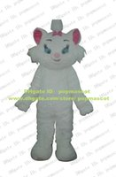Wholesale Smart Marie White The Aristocats Cat Pussycat Moggie Kitten Mascot Costume Cartoon With White Pink Ears Blue Eyes No FS