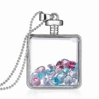 Wholesale Glass Pendant Necklace Stainless Steel jewelry Titanium mm mm Crystal Beads Loket Floating Essential Oil Diffuser Necklaces YH N