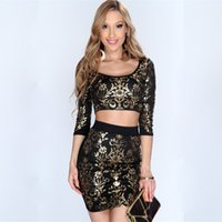 spandex clothing - Tight Women Dress Sexy Women Club Dresses Slim Fit Black Color Fashionable Lady Clothes Gold Prints O Neck Polyester And Spandex