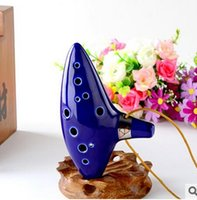 Wholesale New Arrival The Legend of Zelda Ocarina of Time Clay Ceramic Alto C Occarina holes with musical composition LJJD2110