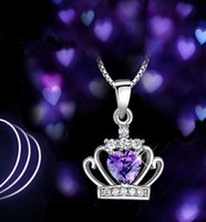 amethyst drop pendant - Solid Silver Love Pendant Amethyst Crystal Charm Fit Necklace Jewelry Classic Crown Pendant Necklace gift drop shipping