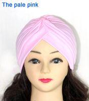 Wholesale Stretchy Turban Head Wrap Band Sleep Hat Chemo Bandana Hijab Pleated Women Indian Cap Hat HT76