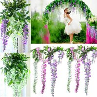 beautiful garland - Beautiful Upscale Artificial Silk Flower Vine Home Decor Simulation Wisteria Garland Craft Ornament For Wedding Party Decorations Style