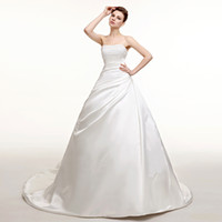 designer - Elegant Ball Gown Strapless Wedding Dresses New Designer Couture Beading Crystals Lace Up Ruched Satin Court Train Bridal Gowns CGL516