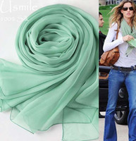 arabic shawl style - 100 pure mulberry silk scarf women fashion british style scarves in arabic Hijabs Mint green long big blanket scarves and shawls