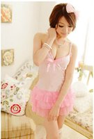 sexy night clothes - Sexy Babydolls Night Sleepwear Night Suits Pjamas Dress Genadine Sexy Dew Chest Clothes For Women Pjamas Game Style Pink Color S279
