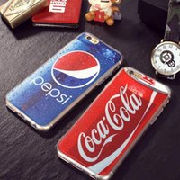 beer drinking cartoons - 2015 Newest D Luxury Coke Pepsi For iPhone S plus s Phone Case Drink Beer Bottles Cartoon Phone Cases Cover Anti knock