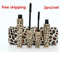 Wholesale 2015 New arrival Leopard Print Love Alpha Black Eye Mascara Long Eyelash Silicone Brush curving lengthening mascara Waterproof Makeup