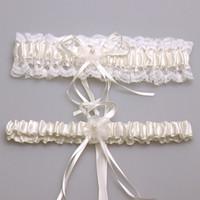 silk ribbon - 2pcs set Bridal accessory satin lace ivory pink blue Burgundy garter silk ribbon floral pearl wedding decoration garter