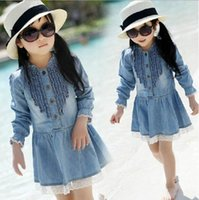 TuTu beautiful cowboys - 2015 New Girls Kids Y Denim Blue Beautiful Lace Cowboy Clothes Long Sleeved denim Dress T