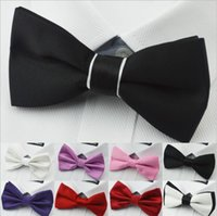 Wholesale 2014 New Men s Bow Ties Solid Color Plain Satin Skinny Ties Groom Necktie Silk Jacquard Woven Tie color In Stock mixed color order