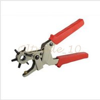Wholesale 100pcs LJJC2838 High Quality Multi function Portable Puncher Carbon Steel PVC Red Belt Hole Puncher Hand Pliers Belt Punches Revolving Tool