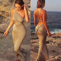 Wholesale Women Halter Strapless wrapped package hip Maxi Dresses Sexy Ladies Slim Mermaid Evening Prom Party Beach Dress Swimwear for Women Clothes