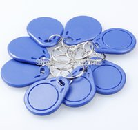 Wholesale 100pcs of RFID MHz Token Tag IC Tag Token Key Ring IC Cards Re writable Blue Color