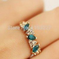 Envío gratuito nuevo lujo estilo Diamante bisutería de campeonato barato verde anillo o vender por lote (apoyo color mezclado)