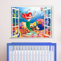 bedding pvc window - 3d Living Bed Room Decoration Colorful Cartoon Mermaid Sea World Vinyl Wall Sticker Decal D Window View children room Art Decor