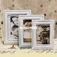 antique white photo frames - Fashion European Antique White Home Decorative Square inch Solid Wood Photo Frames Set Vintage