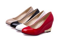red patent leather shoes - 2014 Patent leather Liangpi Work shoes Black Red White Nude Wedges Women s Shoes US5 US9