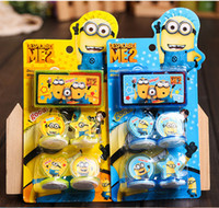 Wholesale 2015 Cute Despicable Me Minions minion Figures Seal Stamp Ink Pad Kids Children gifts Prize award D cartoon Toy stamps set