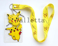 cell phone straps - Cute Yellow Pikachu Yellow Lanyard strap Cell Phone ID Key Holder pouch soft dangler Gfit