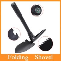 Wholesale New Mini Multi function Folding Shovel Survival Trowel Dibble Pick Camping Outdoor Tool With Carry Bag Via DHL