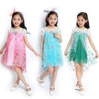 Cheap 2015 New Elsa dress 3 Color party dress Elsa Custom Cosplay Summer Girl Dresses Princess Elsa Costume for Children gift